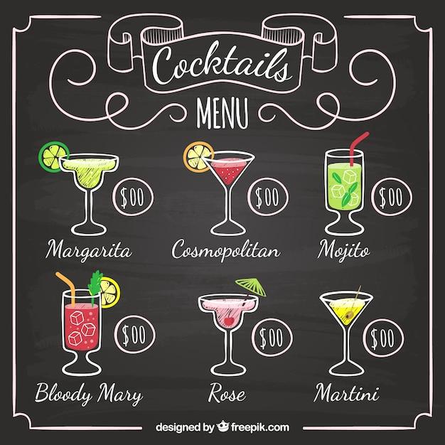 Men de bar de c cteles en estilo pizarra descargar - Pizarra para bar ...