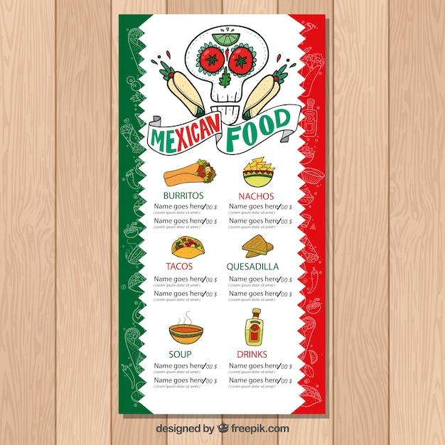 Menú de comida mexicana típica | Descargar Vectores gratis
