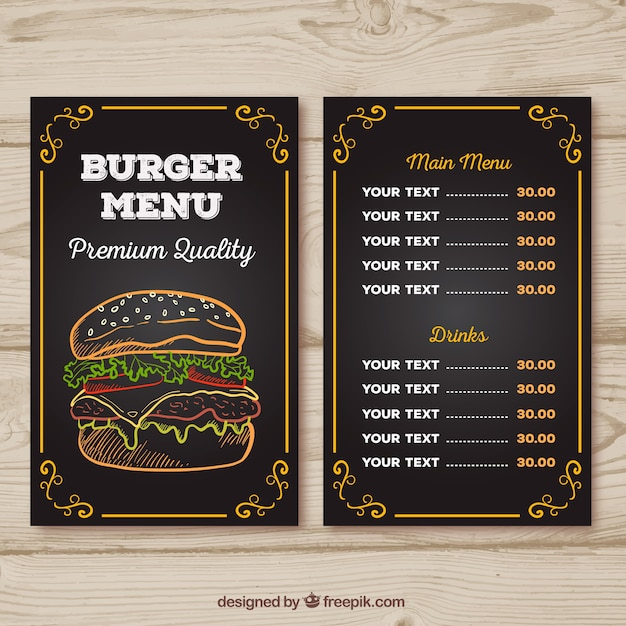 Menú de hamburguesería con diseño de tiza Vector Gratis