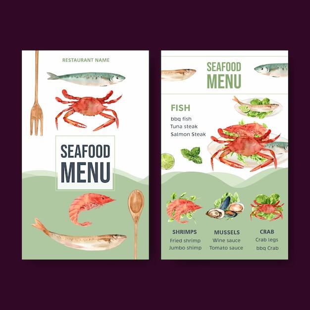Menú del día mundial de la comida con camarones, carne de almeja, cangrejo, pescado ilustración acuarela. vector gratuito