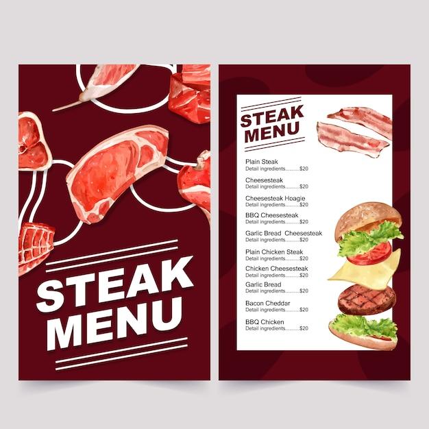 Menú del día mundial de la comida para restaurante. con varias ilustraciones en acuarela de carne. vector gratuito