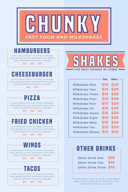 Menú digital de comida rápida y batidos vector gratuito