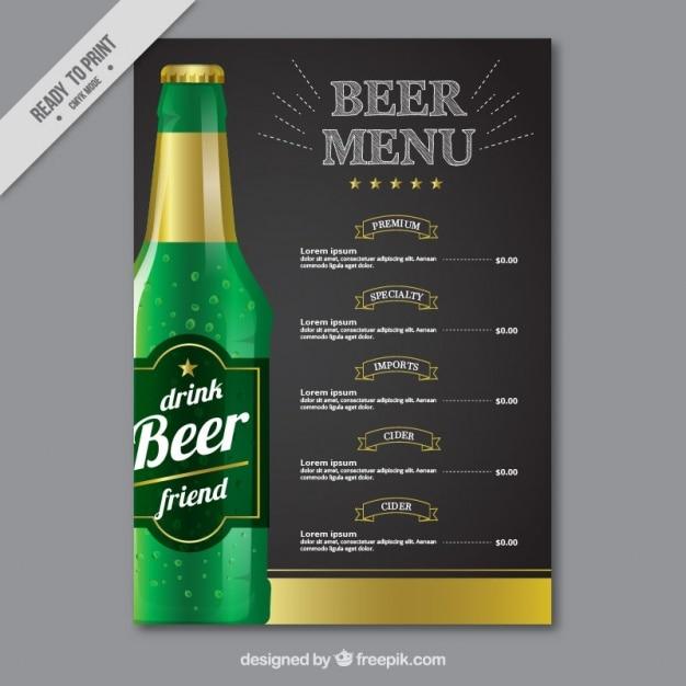 Menú elegante con una botella de cerveza vector gratuito