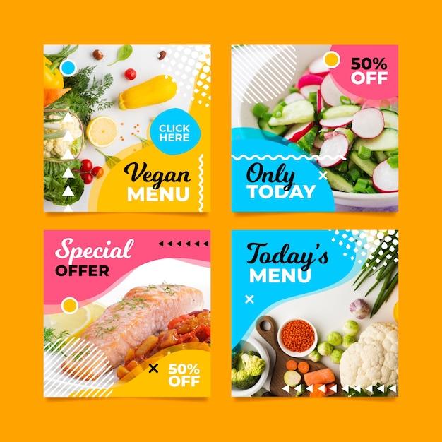 Menú especial vegano publicación en redes sociales Vector Premium