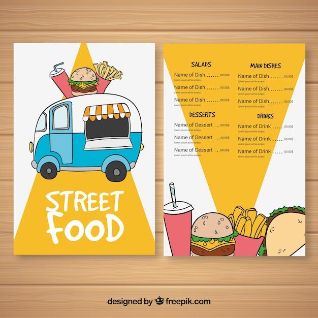 Menú para food truck dibujado a mano vector gratuito