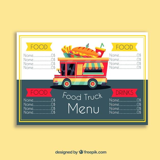 Menú de food truck con sandwich vector gratuito