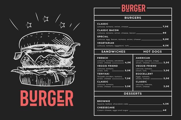 Menú de hamburguesas pizarra vector gratuito