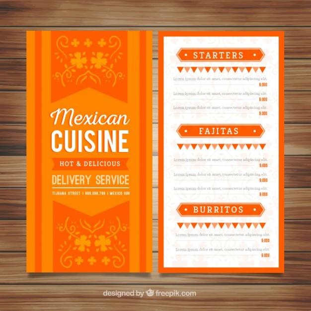 Mexicano Restaurant Menu