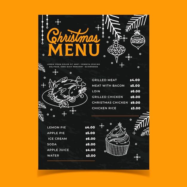 Menú de navidad plantilla dibujada a mano vector gratuito