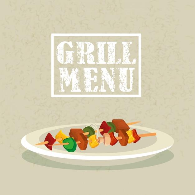 Menú a la parrilla con deliciosa brocheta en plato vector gratuito