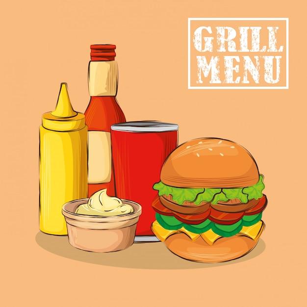 Menú a la parrilla con deliciosa hamburguesa vector gratuito