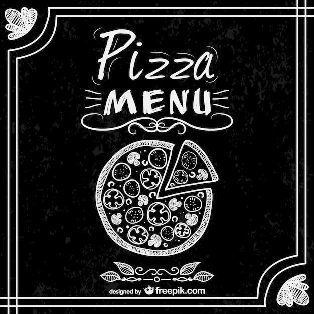 Menú de pizzería estilo pizarra vector gratuito