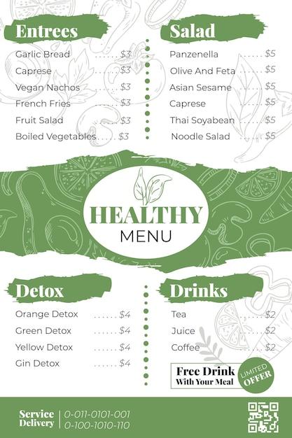 Menú para plantilla de restaurante en formato vertical vector gratuito