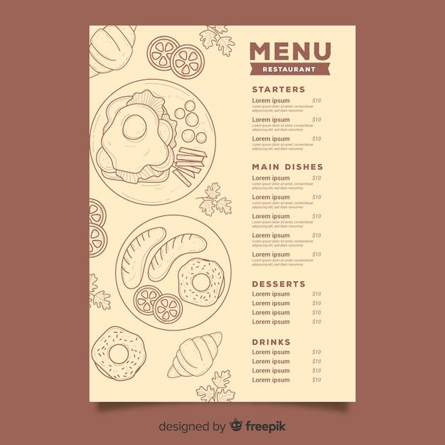 Menú del restaurante con bocetos de comida. vector gratuito