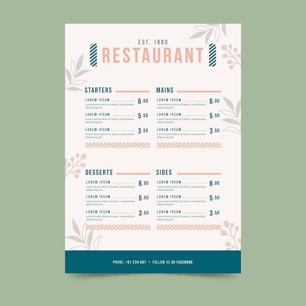 Menú de restaurante colorido plantilla vector gratuito