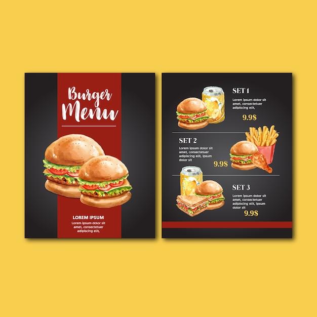Menú del restaurante de comida rápida. marco borde menú lista aperitivo comida vector gratuito