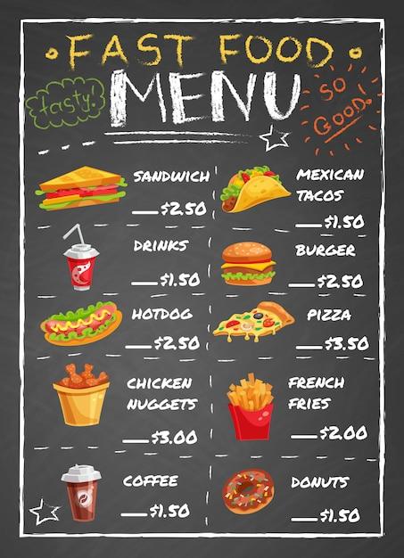 Menú del restaurante de comida rápida en la pizarra vector gratuito