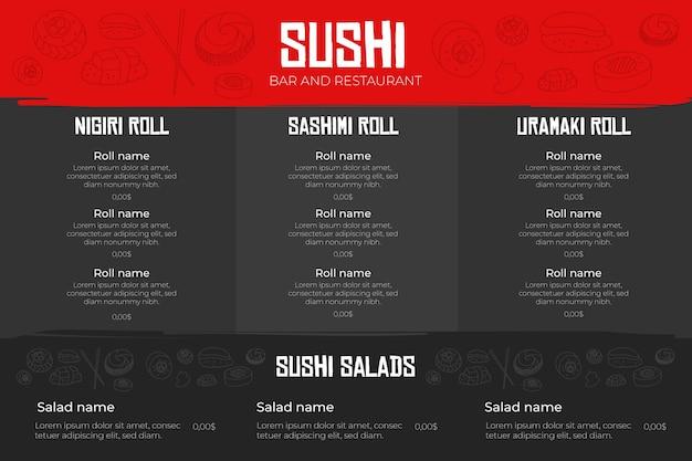 Menú de restaurante digital vector gratuito