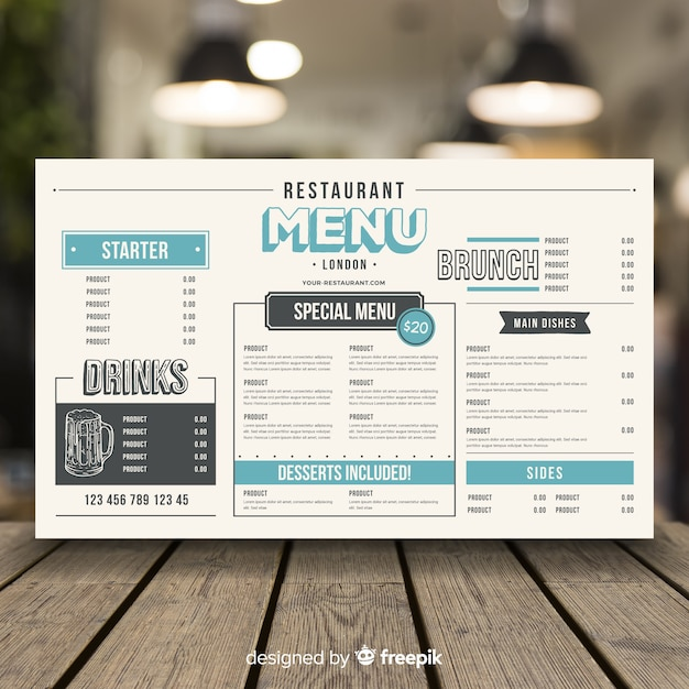 Menú de restaurante en estilo vintage vector gratuito