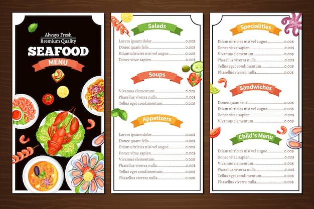 Menú del restaurante de mariscos vector gratuito