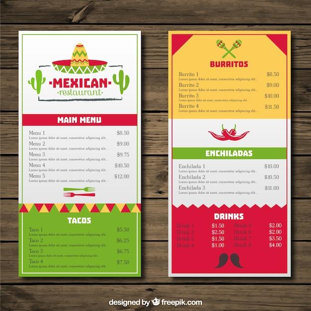65227d44d7afe Menú de restaurante mexicano con colores y sombrero mexicano ...