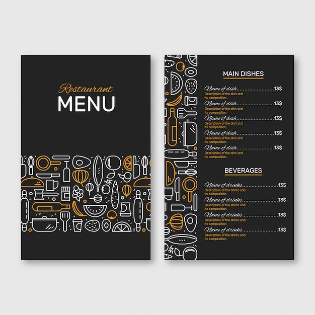 Menú del restaurante negro y amarillo Vector Premium