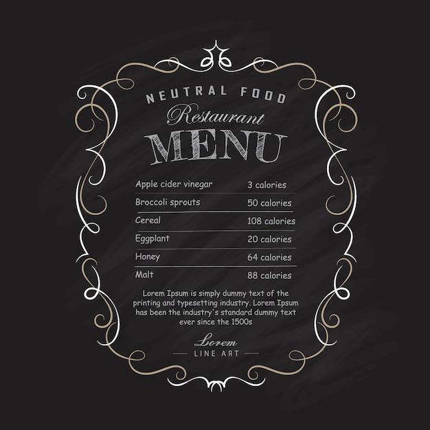 Menú restaurante pizarra dibujado a mano marco vintage florece ilustración Vector Premium