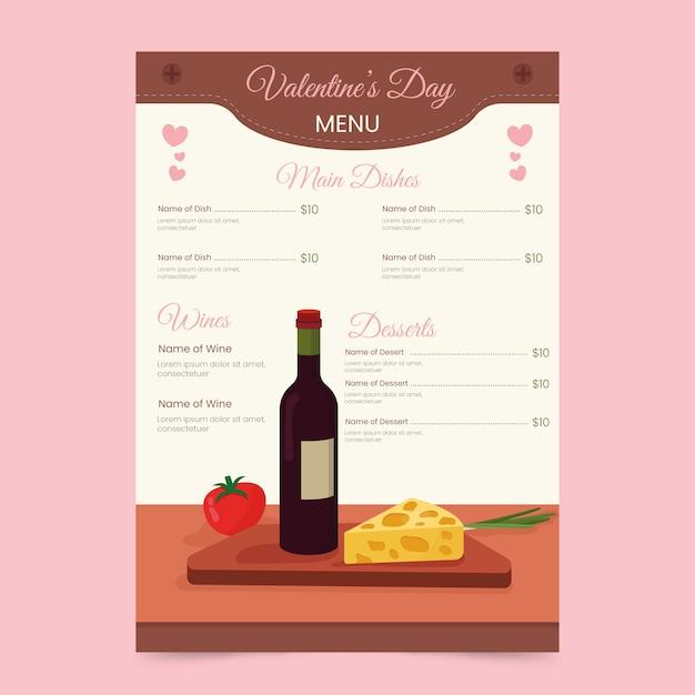 Menú de restaurante de vino tinto y queso francés valentine vector gratuito
