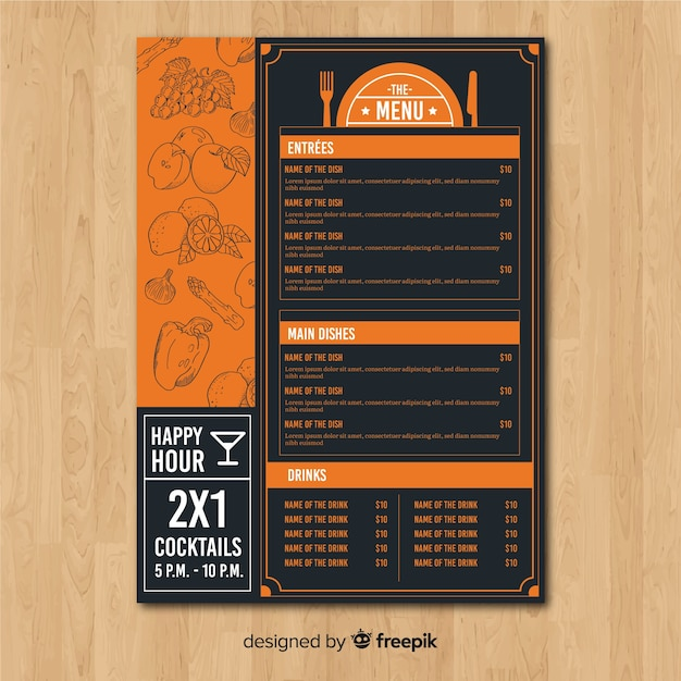Menú de restaurante vector gratuito