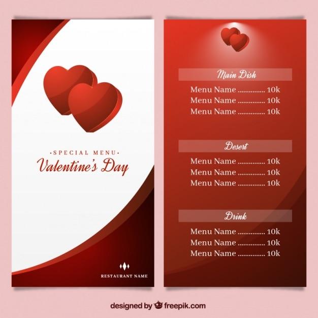 Menú De San Valentín Con Corazones De Color Rojo Descargar
