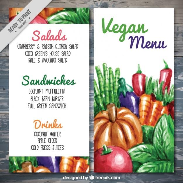 Menú vegano con comida pintada a mano vector gratuito