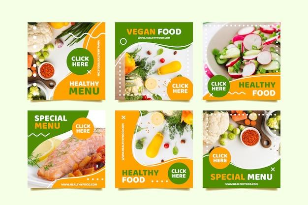 Menú vegano publicación en redes sociales Vector Premium