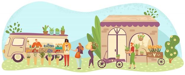 Mercado de flores y plantas al aire libre con personas o clientes caminando entre puestos, floristerías ilustración de dibujos animados. Vector Premium