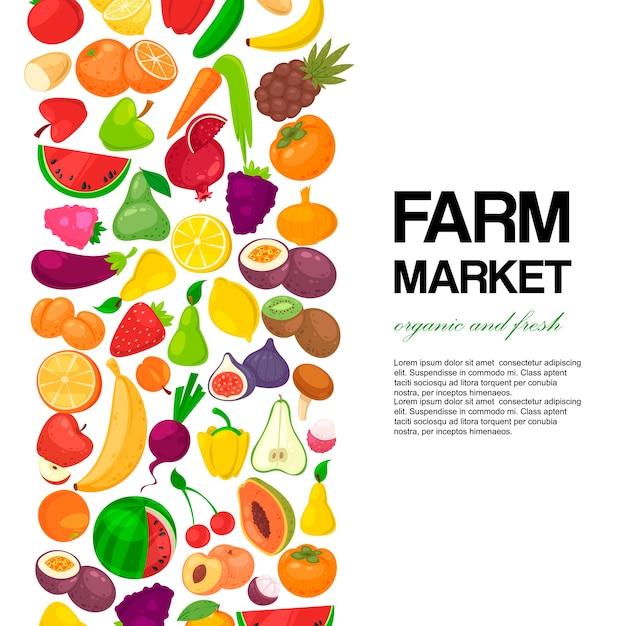 Mercado de frutas y verduras. Vector Premium