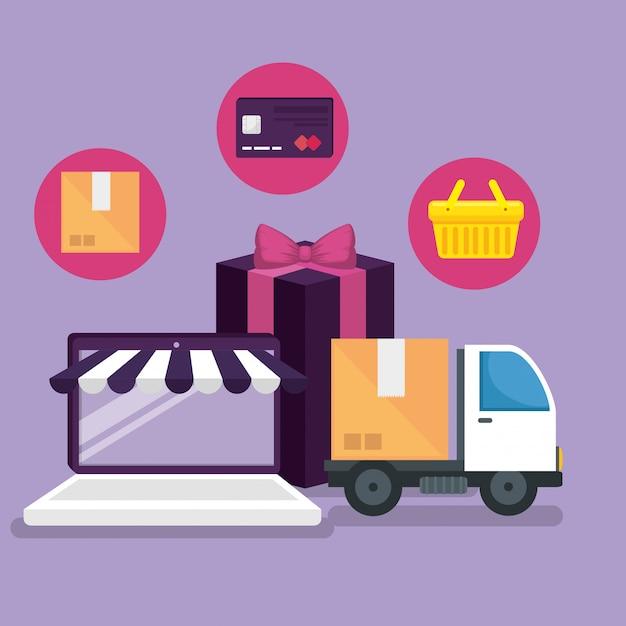 Mercado en línea con teléfono inteligente para comprar vector gratuito