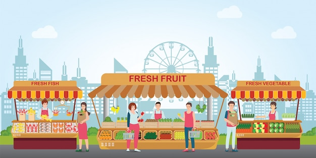 Mercado local con alimentos frescos. Vector Premium