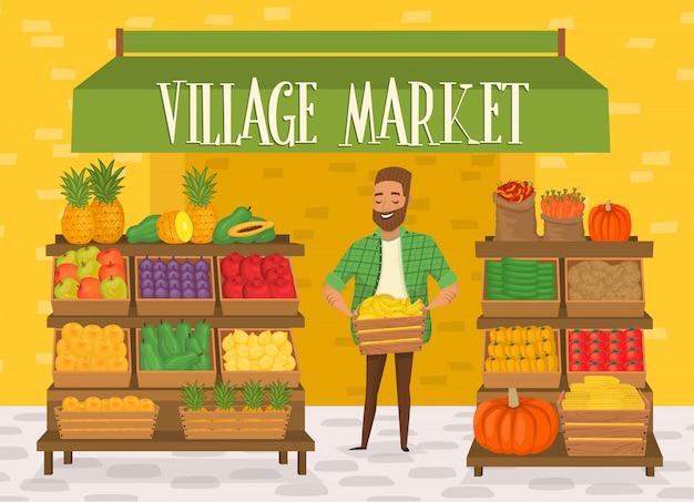 Mercado del pueblo Vector Premium