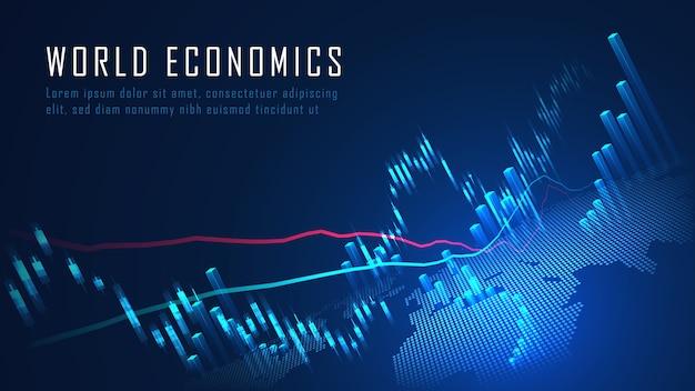 Mercado de valores o gráfico de comercio de divisas en concepto gráfico adecuado para la inversión financiera o la idea de negocio de tendencias económicas y todo el diseño de obras de arte. concepto de fondo abstracto de finanzas Vector Premium