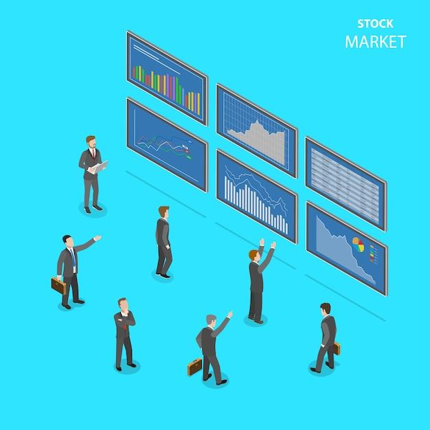 Mercado de valores plano isométrico. Vector Premium