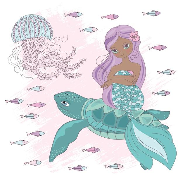 Mermaid en tortuga princesa submarina Vector Premium