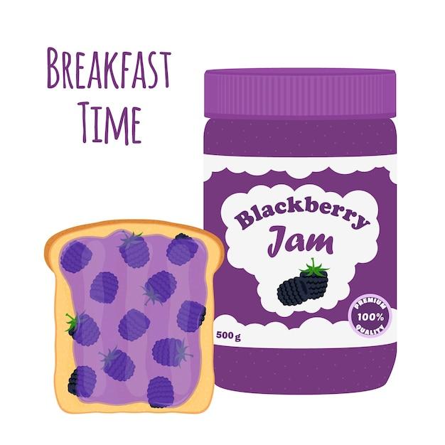 Mermelada de blackberry en tarro de cristal Vector Premium