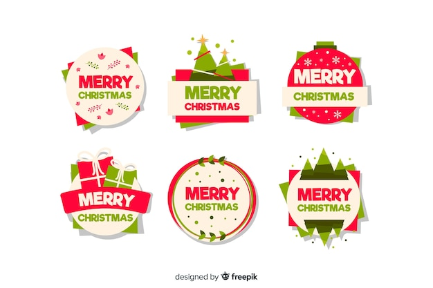Merry christman badge collection estilo de diseño plano vector gratuito