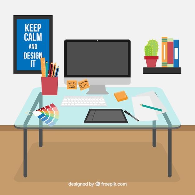 Mesa espacio de trabajo dise ador descargar vectores gratis - Disenador de espacios ...