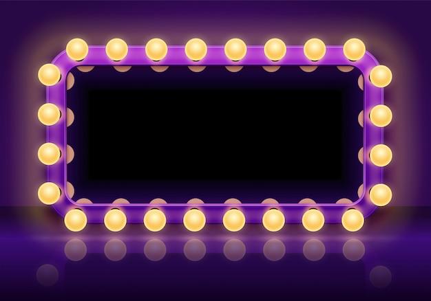Mesa de espejo de maquillaje. marco de luces de espejos detrás del escenario, espejo de vestidor con ilustración de vector de bombillas Vector Premium