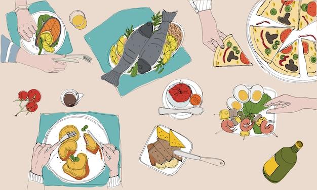 Mesa festiva, mesa puesta, vacaciones ilustración colorida dibujada a mano, vista superior Vector Premium