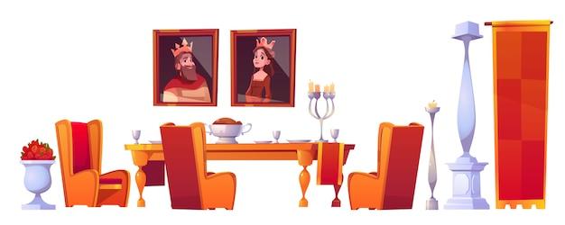 Mesa de fiesta con comida en el juego de comedor del castillo vector gratuito