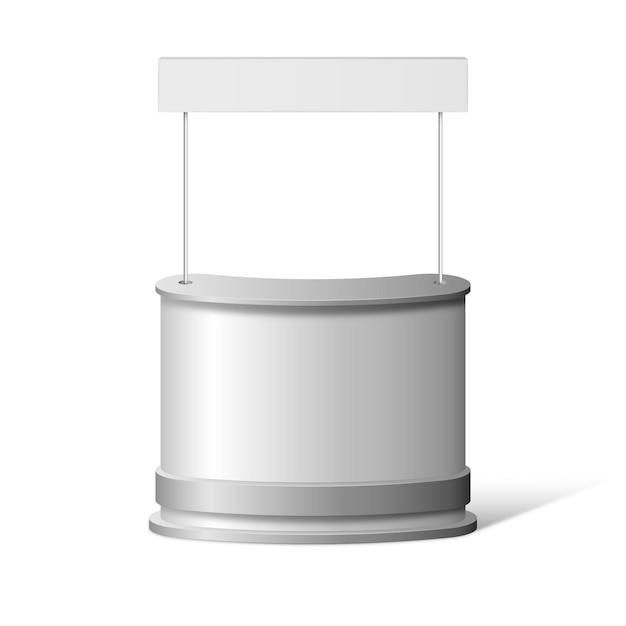 Mesa de mostrador de promoción realista aislada en blanco vector gratuito