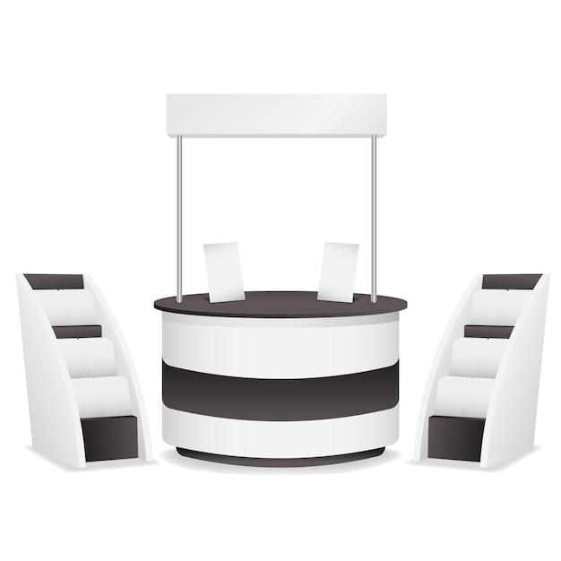 Mesa de mostrador de promoción realista con quioscos de periódicos vector gratuito