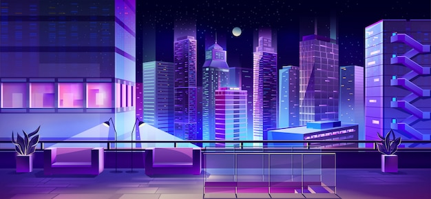 Mesa de observación en vector de techo de edificio de ciudad vector gratuito