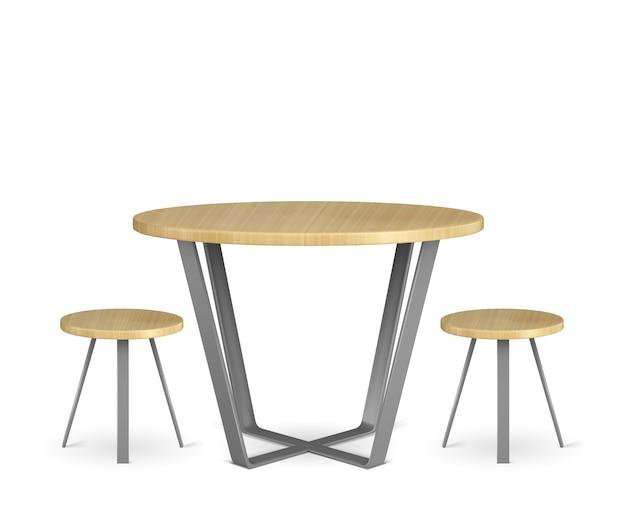 Mesa redonda de madera y sillas circulares aisladas en blanco vector gratuito